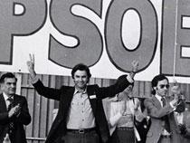 Felipe González y otros miembros del PSOE