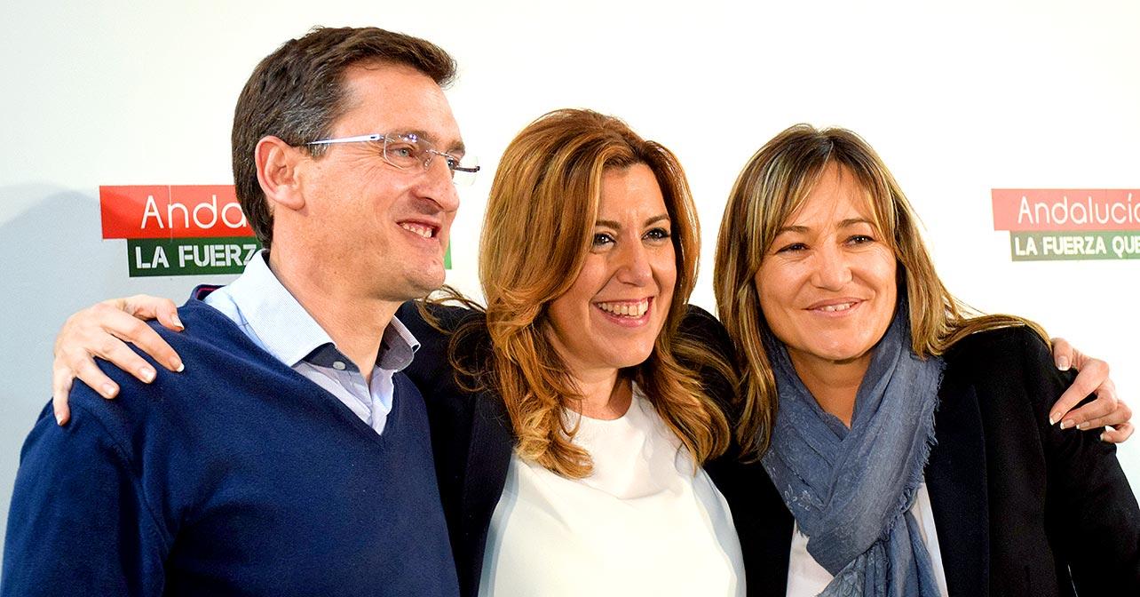 José Luis Sánchez Teruel, Susana Díaz y Esperanza Pérez Felices