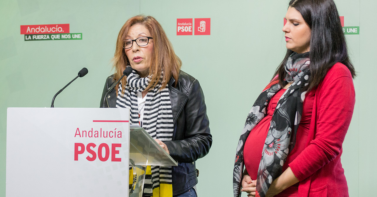 Rueda de prensa sobre dependencia que han ofrecido las diputadas autonómicas del PSOE de Almería Caridad López y Noemí Cruz