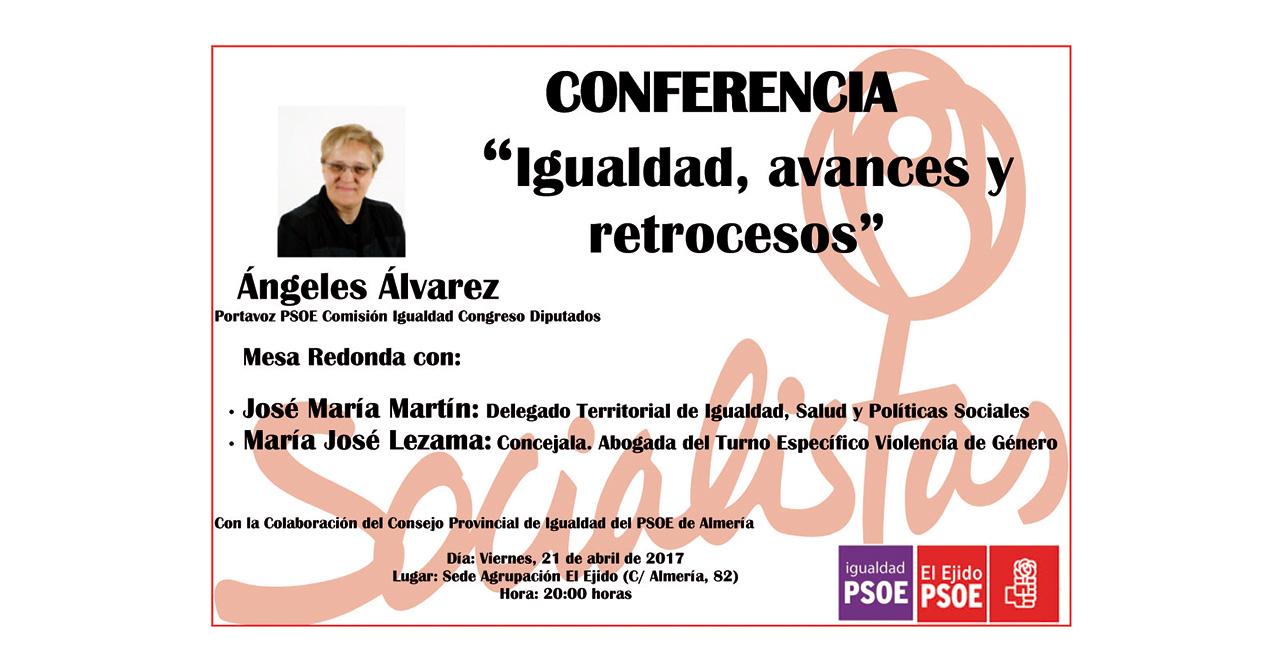 Cartel de la conferencia Igualdad, avances y retrocesos del PSOE de El Ejido