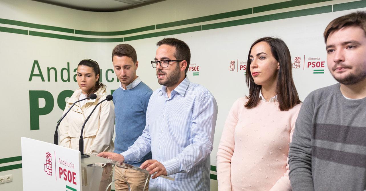Juventudes Socialistas de Almería durante la rueda de prensa