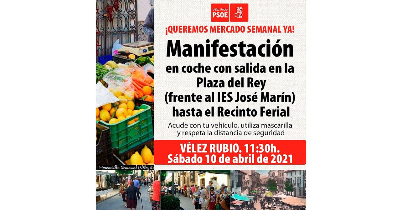Cartel manifestación Vélez Rubio - Mercado semanal